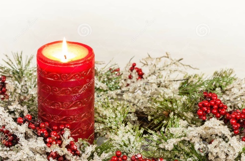 Christmas candle & Holly